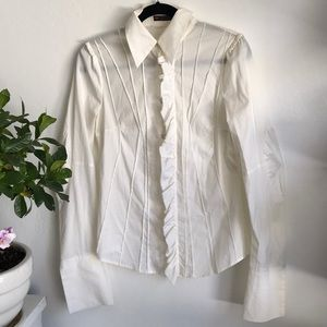 Fitted White Ruffle Wide Sleeved Button Up
